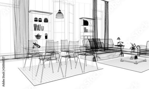 Interno casa rendering wireframe arredamento immagini e for Rendering arredamento