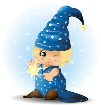Mago Stregone Bambino-Baby Magician Sorcerer-Vector
