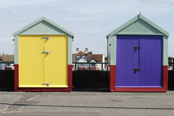 Beach huts at Hove. Brighton. Sussex. England