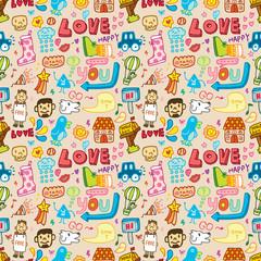 seamless cute cartoon pattern(vector)