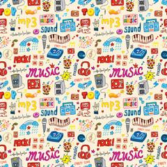 cute music icon seamless pattern