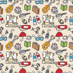 seamless cute object pattern vector illustration