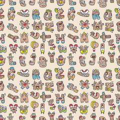 monster letters seamless pattern