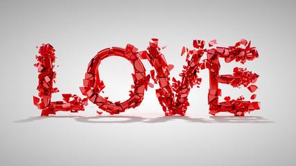 Love and divorce concept - red broken word