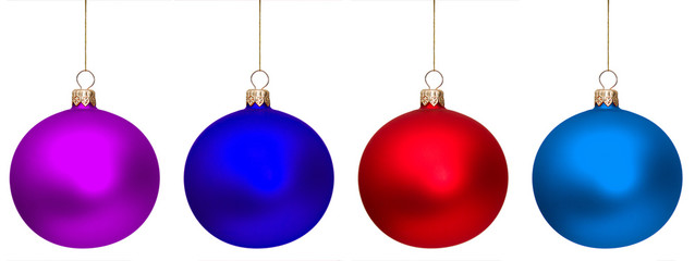 Four christmas glass ball isolated against white background