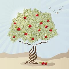 Wall Murals Birds, bees Single stylized apple tree
