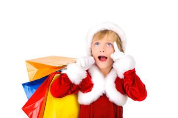 Cute little Santa is shopping