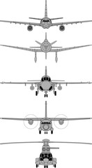 High detailed vector illustration of various aircraft front view