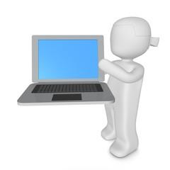 3d-mädchen mit laptop silber/schwarz