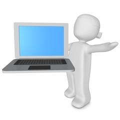 3d-mädchen mit laptop silber/schwarz 2