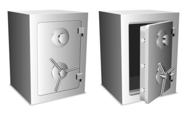 Two metal safes with closed and opened door.