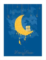 Cute Honeymoon Postcard in vector