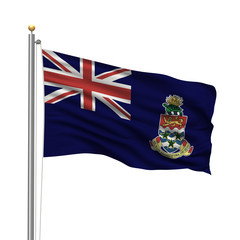 Flag of the Cayman Islands waving in the wind over white