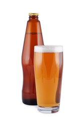 Beer, bottle, glass, isolated on white.