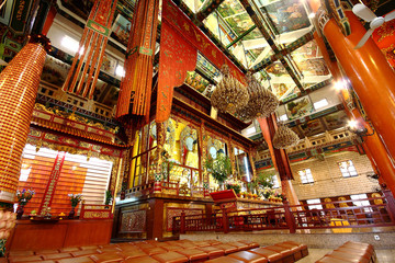 Buddha inside temple in old building