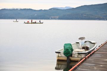 boat on lake near Fuji mountain, Japan