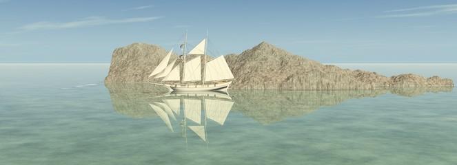 Das Segelschiff im Meer