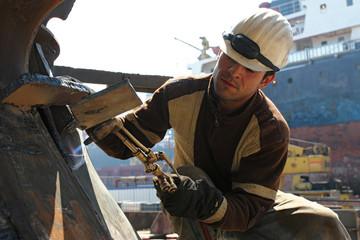 hot welding on an construction area