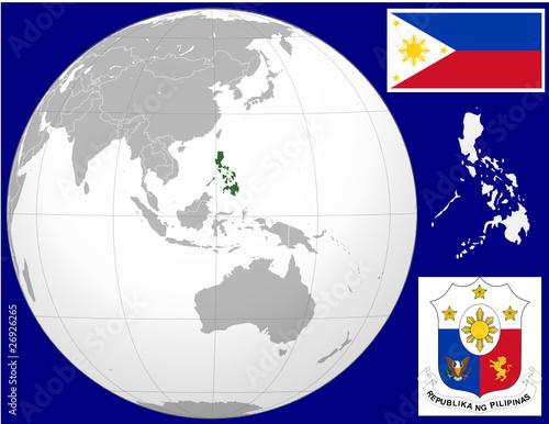 Philippines globe map locator world flag coat Stock image and