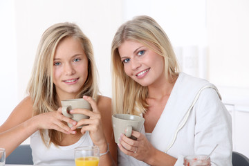 Blond woman and blond girl having breakfast