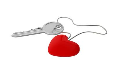 Schlüssel mit Herzanhänger (mit Freistellungspfad)