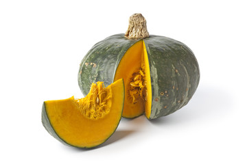 Green pumpkin with a slice