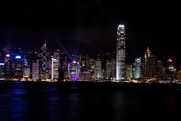 Hongkong sky line of Victoria bay by night and Symphony of Light