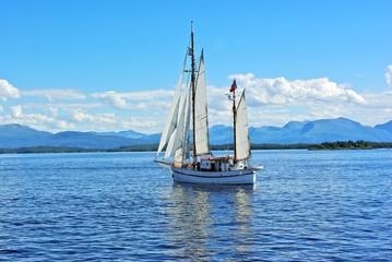 Twin mast sailboat on the sea