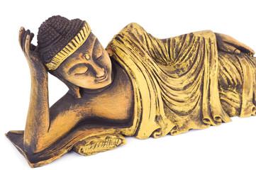 Teak wood lying buddha on white background.