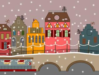 vector winter fairy town