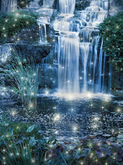 Magic night waterfall scene