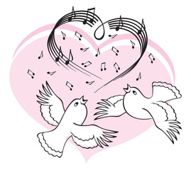 Birds sing a song of love.
