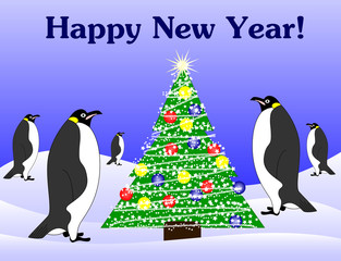 new year penguins and fir tree