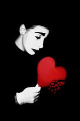 Foto op Canvas Rood, zwart, wit Heartbreak. Broken heart