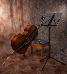 old cello and music stand