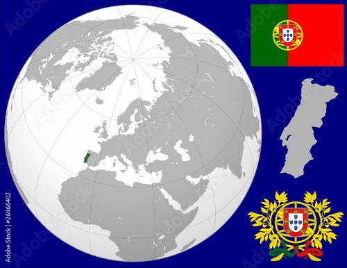 Portugal Globe Map Locator World Flag Coat Stock Image And - Portugal globe map