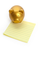 Piggy Bank and notepaper