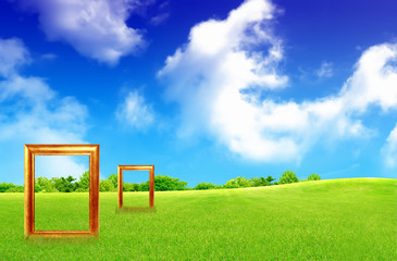Frame Against Blue Sky And Green Grass