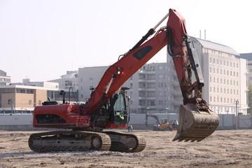 Pelleteuse sur chantier
