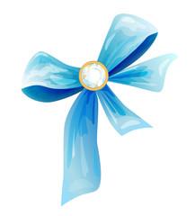 blue silk bow with diamond
