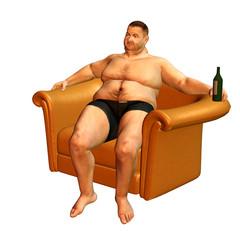 ein dicker mann im sessel sitzend