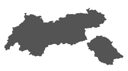 Karte von Tirol - isoliert
