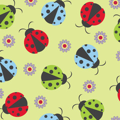 Colorful seamless with ladybugs