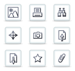 Image library icons, white square glossy buttons