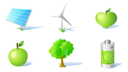 6 vector energy and ecology icons