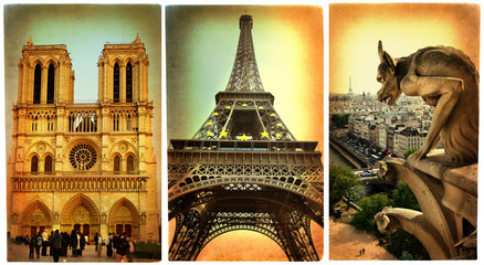 Wall Mural - Parisian  - vintage cards series
