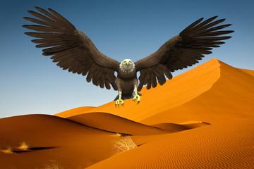Fototapete - american bald eagle desert landing