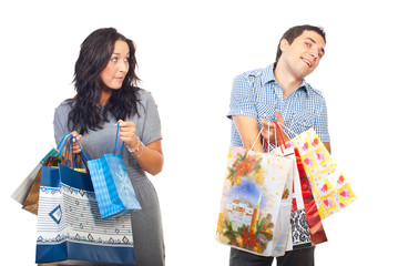 Envy woman on man shoppings