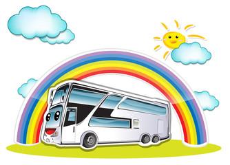 Spoed Foto op Canvas Regenboog bus
