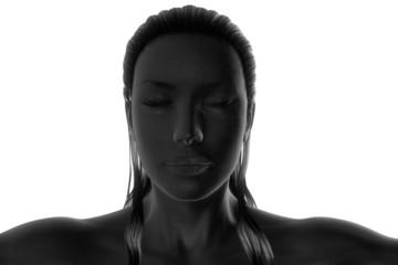 closed eyes long hair made up black woman